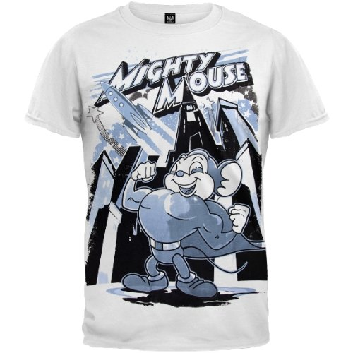 Old Glory Mens Mighty Mouse - Rocket Mouse Soft T-Shirt - 2X-Large White