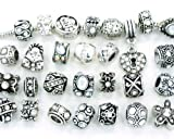 Ten (10) of Assorted Shades of Diamond Clear Crystal Rhinestone Beads (Styles You Will Receive Are Shown in Picture Random 10 Beads Mix) Charms Spacers for Bracelets Fits Pandora, Biagi, Troll, Chamilla and Many Others