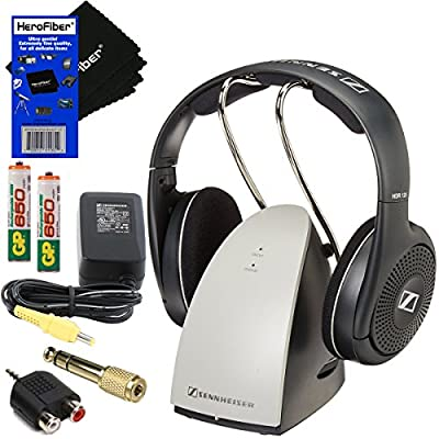 "Sennheiser RS120 On-Ear Wireless RF Headphones with Charging Dock + 2 AAA Ni-MH Rechargeable Batteries + 1/4"" Adapter + RCA to Mini Plug Adapter + AC Power Supply + HeroFiber® Ultra Gentle Cleaning Cloth"