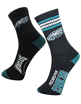 2 PAIRS NFL Mens PHILADELPHIA EAGLES: Athletic Knit Thermal Crew Socks