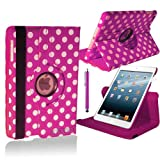 Stuff4 Polka Dot Designed Leather Smart Case with 360 Degree Rotating Swivel Action and Free Screen Protector/Stylus Touch Pen for Apple iPad Air - Deep Pink/White