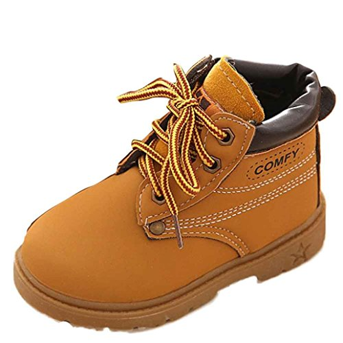 Kingko® Moda inverno Pattini di bambino di inverno dei bambini dei pattini casuali Martin stivali pattini caldi unisex di bambino scarpe comode (2-3 anni, Giallo)