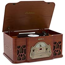 Hot Sale Electrohome Wellington 4-In-1 Nostalgia Turntable Real Wood Stereo System with Record Player, USB Recording, MP3, CD & AM/FM Radio - EANOS502