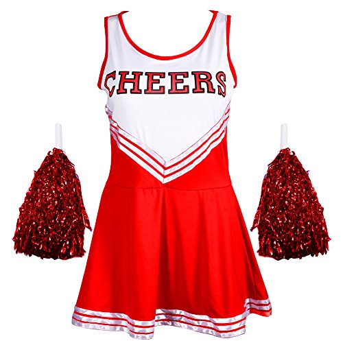 Ladies/Adults Cheerleader Outfit with Pom Poms. Six Colours - Sizes 6 to 16