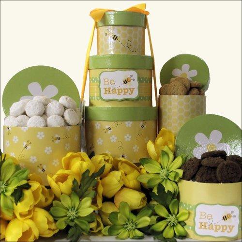 Bee Happy: Gourmet Cookies Easter Gift Tower