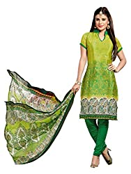 Parinaaz fashion Parrot Green Chudidar Silk Dress Material