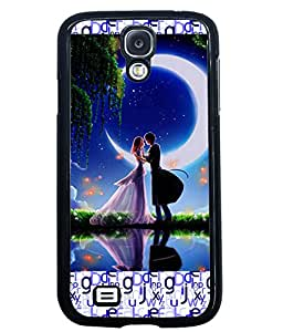 PRINTVISA Couple With Moon Light Premium Metallic Insert Back Case Cover for Samsung Galaxy S4 - I9500 - D5757