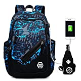 (オマン)WO MAN WEI SI オックスフォードバッグ 登山用リュック サック 大容量 旅行 通勤 通学 多機能バッグ USBポート付き (Style4)