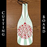 Wine Bottle Shaped Glass Cutting Board -Christmas 2 (4.5″ x 12″)