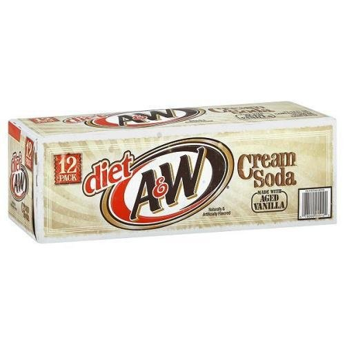 7-UP A&W Diet Cream Soda Soft Drink, 12-Ounce (Pack of 24)