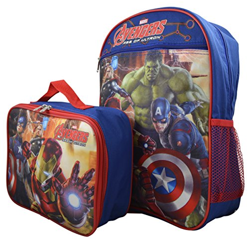 Marvel Avengers Kid's Large Backpack & Matching Lunchbox Set
