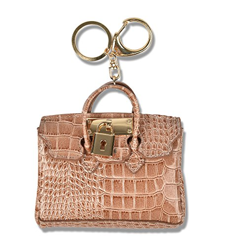 Car Key Chain Ring Coin Card Holder Small Wallet Bag Pouch Custom Accessories Leather KeyChain KeyRing (Light Brown) (Samsung Galaxy A5 Mini compare prices)