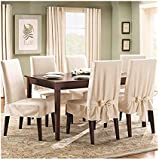 soft suede shorty dining room chair slipcover cream home kitchen