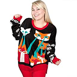 Laser Cat-Zillas Ugly Christmas Sweater-FunQi, Black (Medium)