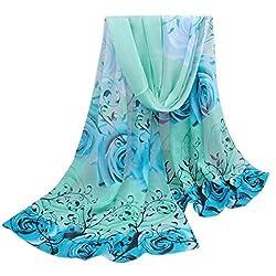 Baonoopy Women Beautiful Rose Pattern Chiffon Shawl Wrap Wraps Scarf Scarves