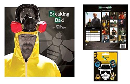 Set: Breaking Bad, Calendario Ufficiale 2017 (30x30 cm) E 1x Sticker Adesivo (12x10 cm)