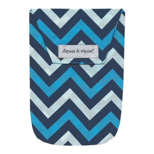Diapees & Wipees Chevron Blue Baby Diaper and Wipes Bag