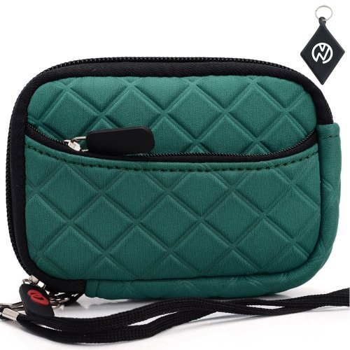 Quilted Neoprene Sleeve Case for Olympus VR-340 Digital Camera, With External Compartment Pocket. Color: Teal + NuVur ™ Keychain (FGL2ZZ3B1)