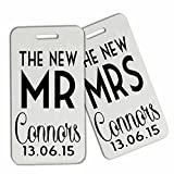 Personalised hard plastic honeymoon just married luggage tags x2 new...