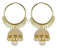 Meenaz Gold Plated Jhumki Earrings For Women