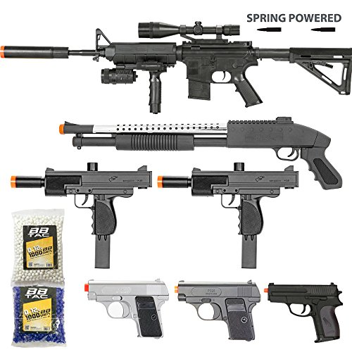 BBTac Airsoft Gun Package - Black Ops - Collection of Airsoft Guns - Powerful Spring Rifle, Shotgun, Two SMG, Mini Pistols and BB Pellets, Great for Starter Pack Game Play (10 Dollar Airsoft Guns compare prices)