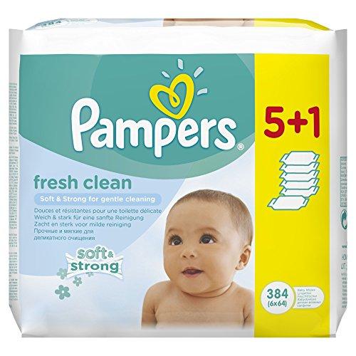 Pampers, Salviette umide per bebè Fresh, confezione convenienza 5 + 1, 2 confezioni (2 x 384 pz.)