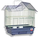 Blue Ribbon House Style Roof Bird Cage, 14.3-Inch by 11.3-Inch by 17-1/2-Inch, Prairie Green/ Slate Blue