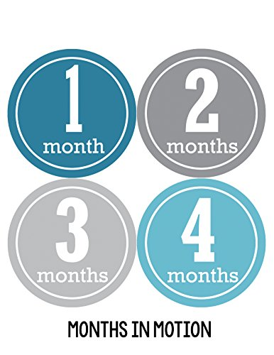 Months in Motion 163 Monthly Baby Stickers Baby Boy Month 1-12 Milestone Sticker - 1
