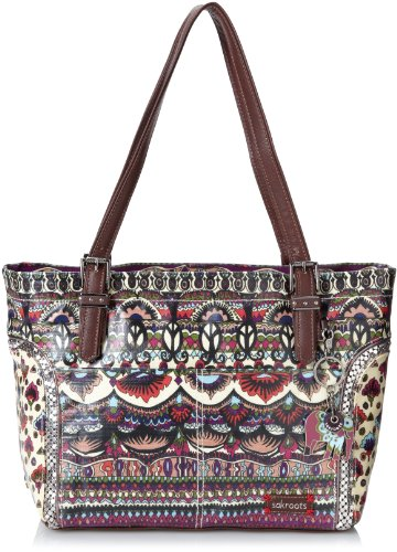 Sakroots Artist Circle Medium Satchel Embellished Top Handle Bag,Cream One World,One Size