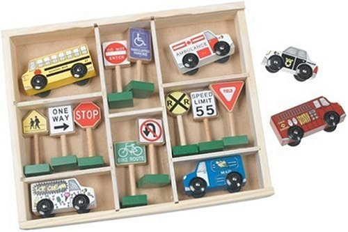 516ZP7347JL Reviews Melissa & Doug Deluxe Wooden Vehicles & Traffic Signs