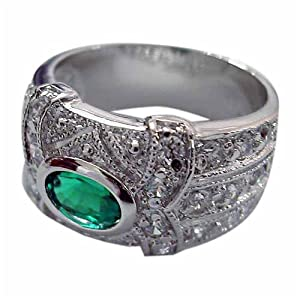 Sterling Silver Oval Emerald and Simulated Diamond CZ Ring