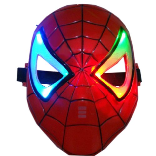 Renineic Boys Led Mutil-Color Changing Classic Spiderman Mask Red (Youth)