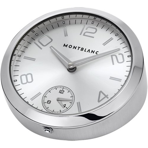Montblanc Table Clock 102375 100 Stainless Steel Case Black Leather Band Men's & Women's Watch