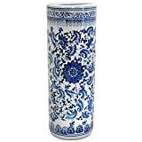 Oriental Furniture Distinctive Affordable Home Decor Gift Idea, 24-Inch Ming Blue and White Porcelain Oriental Umbrella and Cane Stand, Floral