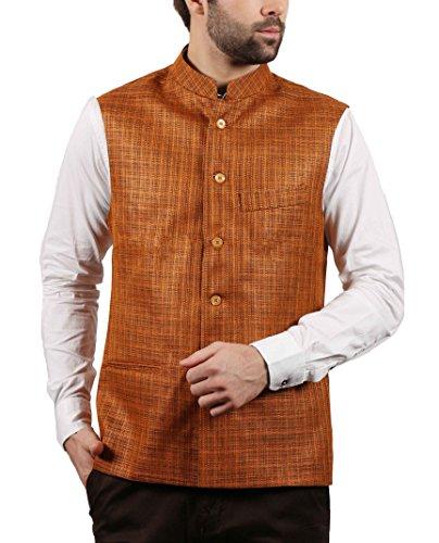 SOLEMIO Men Poly Cotton Ethnic Jackets (A15JK5501EOR_M_OR_Medium)