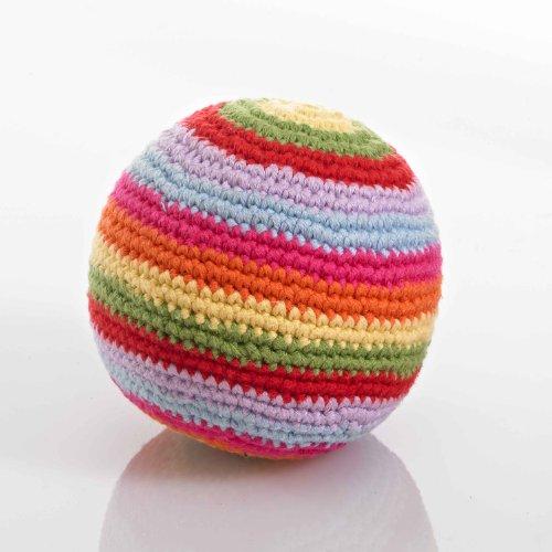 Pebble crochet rattle ball - multi coloured stripes