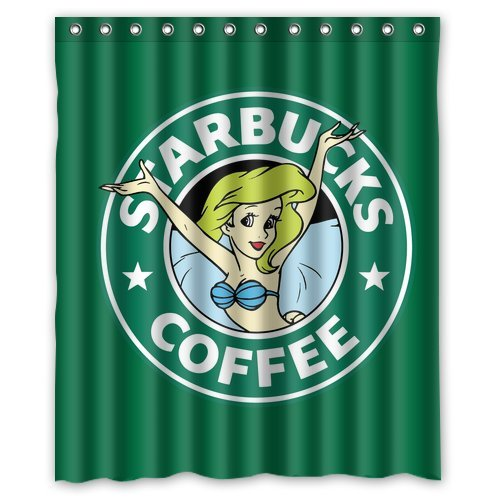 "Best Coffee For Best You Starbuck Coffee Logo Quotes Pattern Waterproof Poloyester Fabric Shower Curtain Size 60""X 72"" front-507771"