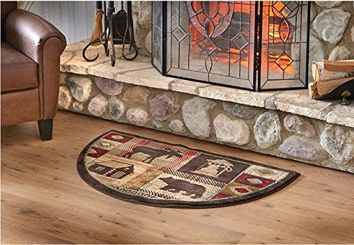 Wildlife Bear Moose Hearth Rug Fire Resistant, Flame Retardant Material, Protects Floor Around Fireplace, Hunting Themed Half Moon Mat, Use at Cabin (Fire Mat For Fireplace compare prices)