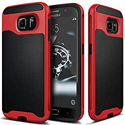 Galaxy S6 case, Caseology [Wavelength Series] [Black / Red] Textured Pattern Grip Cover [Shock Proof] Samsung Galaxy S6 case