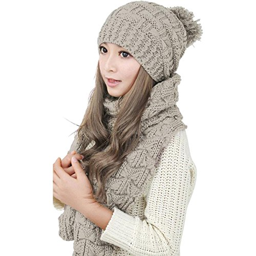lanzom-women-lady-fashion-winter-warm-knitted-hat-and-scarf-set-skullcaps-beige