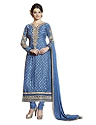 Surat Tex Blue Color Traditional Wear Embroidered Brasso Semi-Stitched Salwar Suit-E170DL2509SA