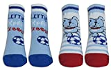 TICK TOCK Baby Boy 2 Pack Cute Mini Socks Booties Blue Newborn Gift Cotton Rich