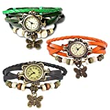 Combo of 3 VB-310 Vintage Butterfly Black + Orange + Green