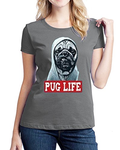 Hot Ass Womens Fitted Pug Life Thug Life Scary Face Dog Lover Sports Grey XLarge