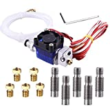 EAONE All-Metal V6 J-Head Hotend Full Kit with 5 Pcs Extruder Brass Print Head + 5 Pcs Stainless Steel Nozzle Throat for V6 Makerbot RepRap 3D Printers