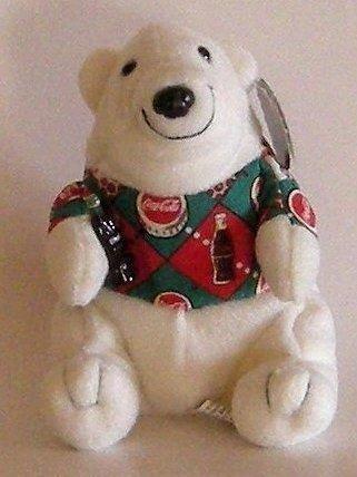 Coca Cola Polar Bear in Argyle Shirt Bean Bag