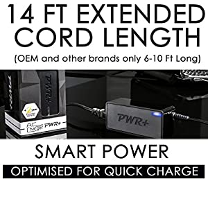 Pwr+ 40W 14 Ft Charger for Samsung Galaxy View SM-T670 Tablet; Samsung-Ultrabook Series-9 5 7 Laptop Battery Power-Adapter: Ativ Book Lite Plus Slate Spin 13.3-inch; Extra Long 14 Ft Power Supply Cord from Electronic-Readers.com