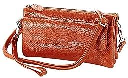 Heshe Soft Leather Crocodile Clutch Organizer Purse Shoulder Crossbody Wrislet Bag Satchel Purse Handbag for Women Hot Sell (Brown)