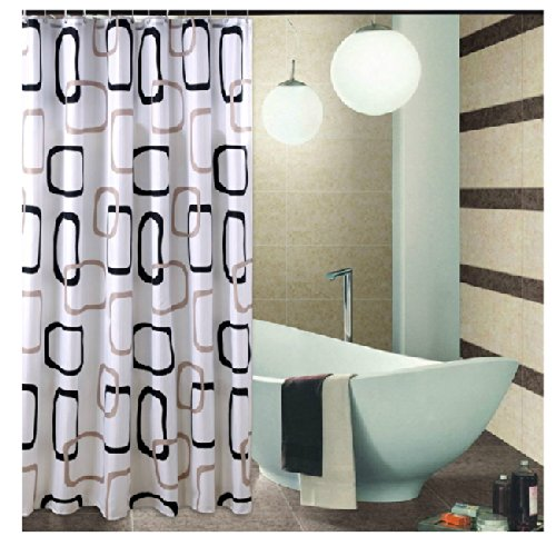 Eforgift modern geometric waterproof non mildew shower curtains polyester fabric bathroom - Delightful window treatment decorating design with various modern grey curtain ...