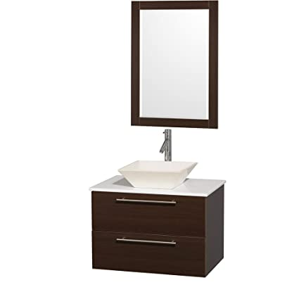 Wyndham Collection Amare 30 inch Single Bathroom Vanity in Espresso with White Man-Made Stone Top with Bone Porcelain Sink, and 24 inch Mirror